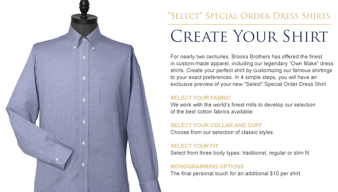 Brooks brothers create your shirt the momentum for Brooks brothers custom shirt
